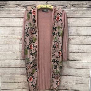 Oasis Pink Floral Long Cardigan Size S